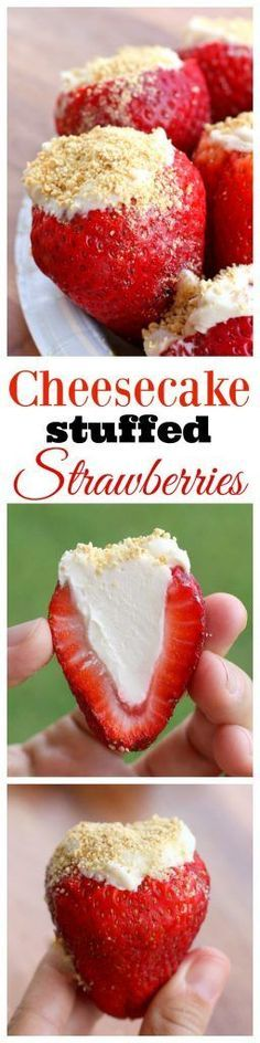 Cheesecake Stuffed Strawberries - so easy to make and a crowd pleaser! http://the-girl-who-ate-everything.com