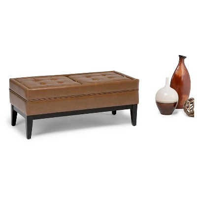 42 Barrington Storage Ottoman Burnt Umber Tan Faux Leather Wyndenhall Leather Storage Bench Storage Ottoman
