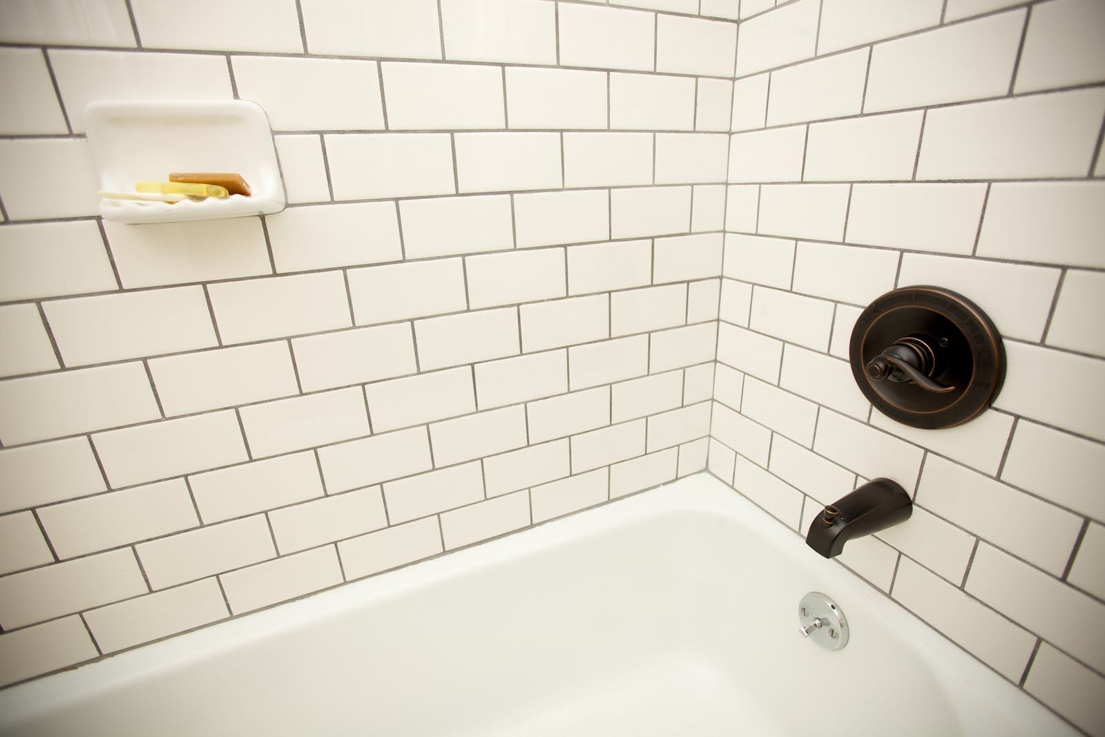 White subway tile with darker grout - shower   Bathroom ideas ...