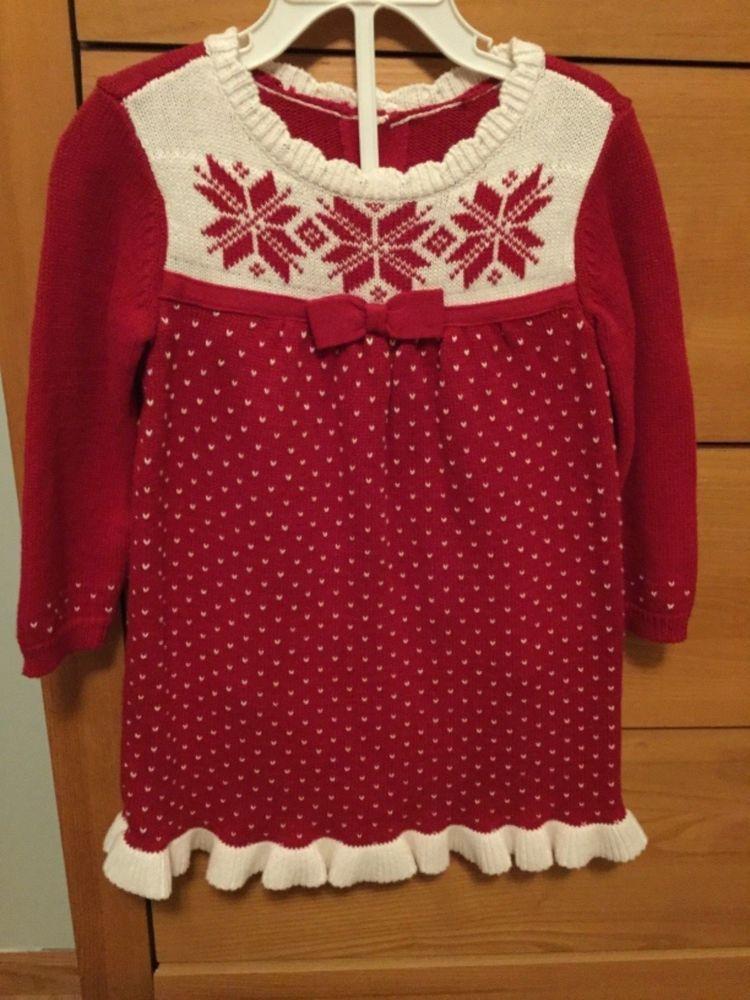 6acf23993 NWT GYMBOREE JOYFUL HOLIDAY 18-24M Red Fair Isle Sweater DRESS baby ...