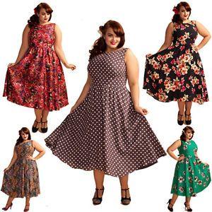 LADY VINTAGE PLUS SIZE 50s VTG DRESS in 12 DIFFERENT PRINTS RETRO ...