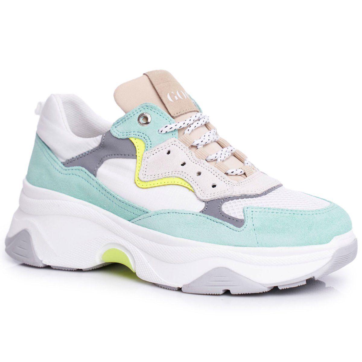 Damskie Sportowe Skorzane Obuwie Goe Bialo Mietowe Ff2n3011 Biale Zielone Sneakers Nike Sneakers Air Max Sneakers