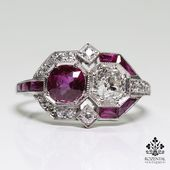 Photo of Antique Art Deco Platinum Ruby (GIA certified) & Diamond Ring | Jewelry & Watche…
