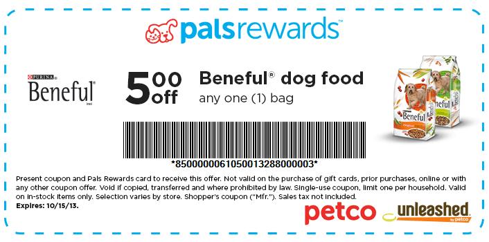 Petco 5 Off Beneful Dog Food Printable Coupon Beneful Dog Food Dog Food Recipes Printable Coupons