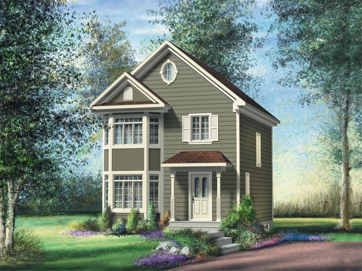 072h 0168 Small Two Story Victorian House Plan Victorian House Plans Narrow Lot House Plans Two Story House Plans