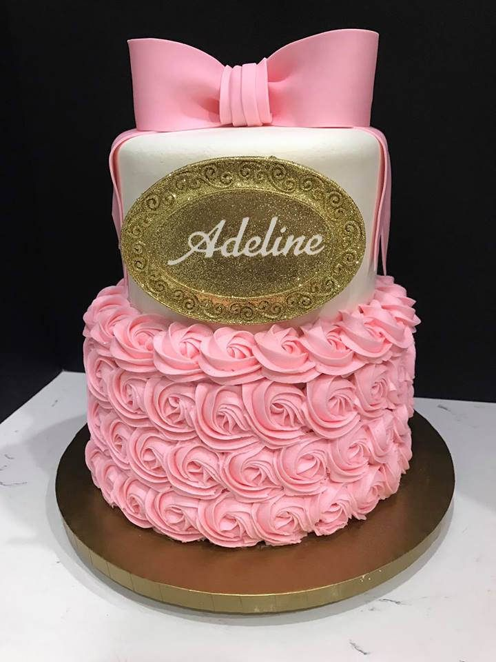 2 Tier Baby Shower Pink And Gold Birthday Cakes Baby Shower