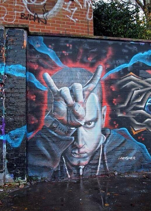 Eminem rap god graffiti slim shady for Eminem wall mural