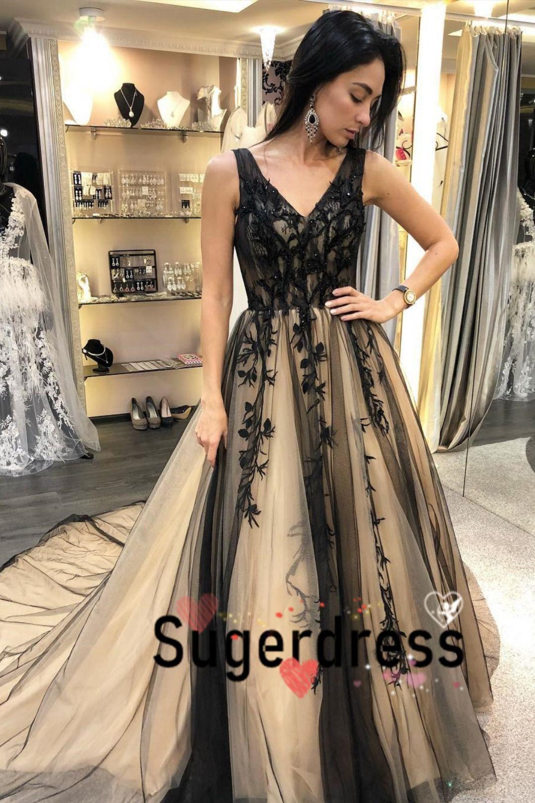 Gorgeous V Neck Black Long Graduation Dress In 2021 Graduation Dresses Long Formal Dresses Prom Dresses [ 1620 x 1080 Pixel ]