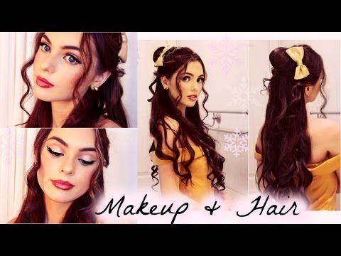 Belle S Hair And Makeup Tutorial Disney S Beauty The Beast Belle Hairstyle Disney Hair Tutorial Princess Hairstyles