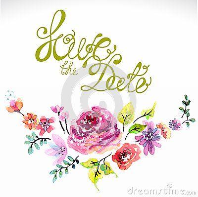 Marco floral de la acuarela para casarse la invitación