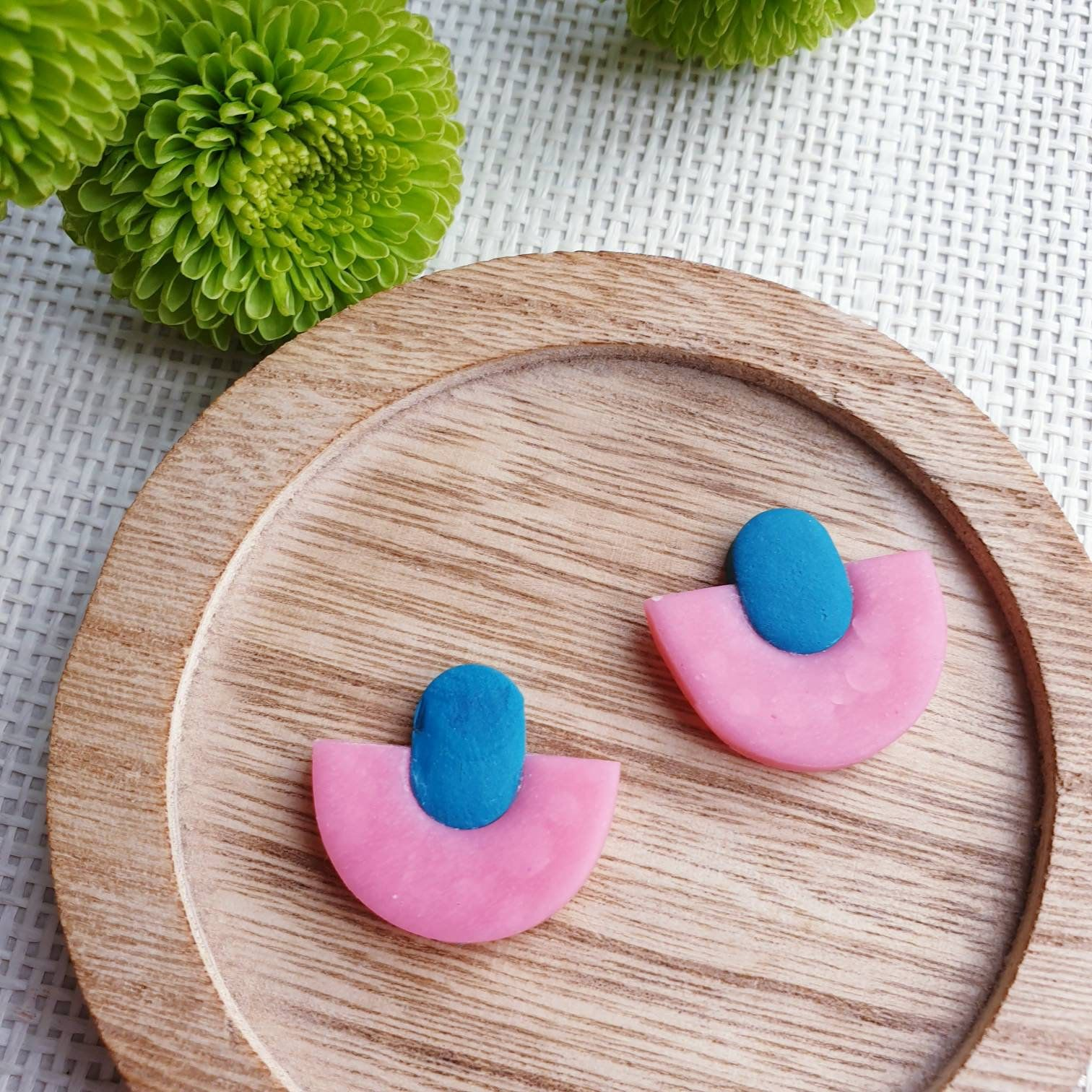 Geometric clay earrings half circle earrings clay studs