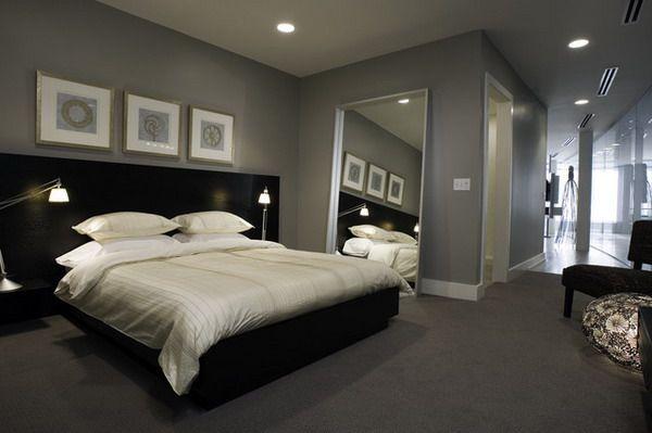 Modern Bedroom With Grey Color Scheme And Black Bed Furniture Sets