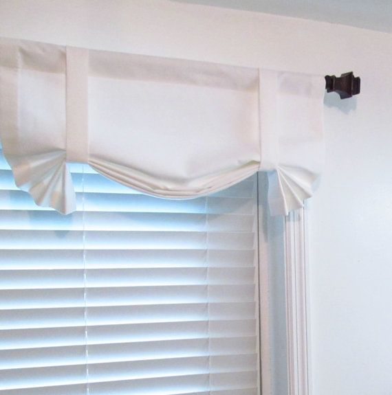 Solid White Tie Up Curtain Valance Handmade In By