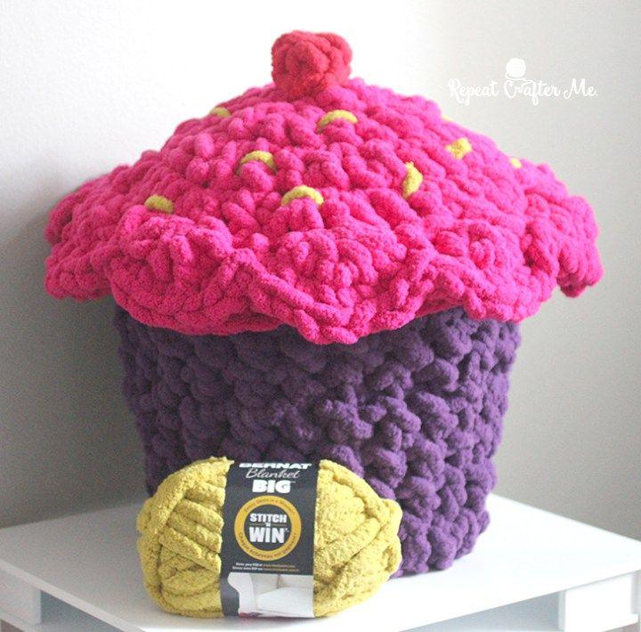 Bernat Blanket Big Cupcake Storage Pouf Repeat Crafter Me