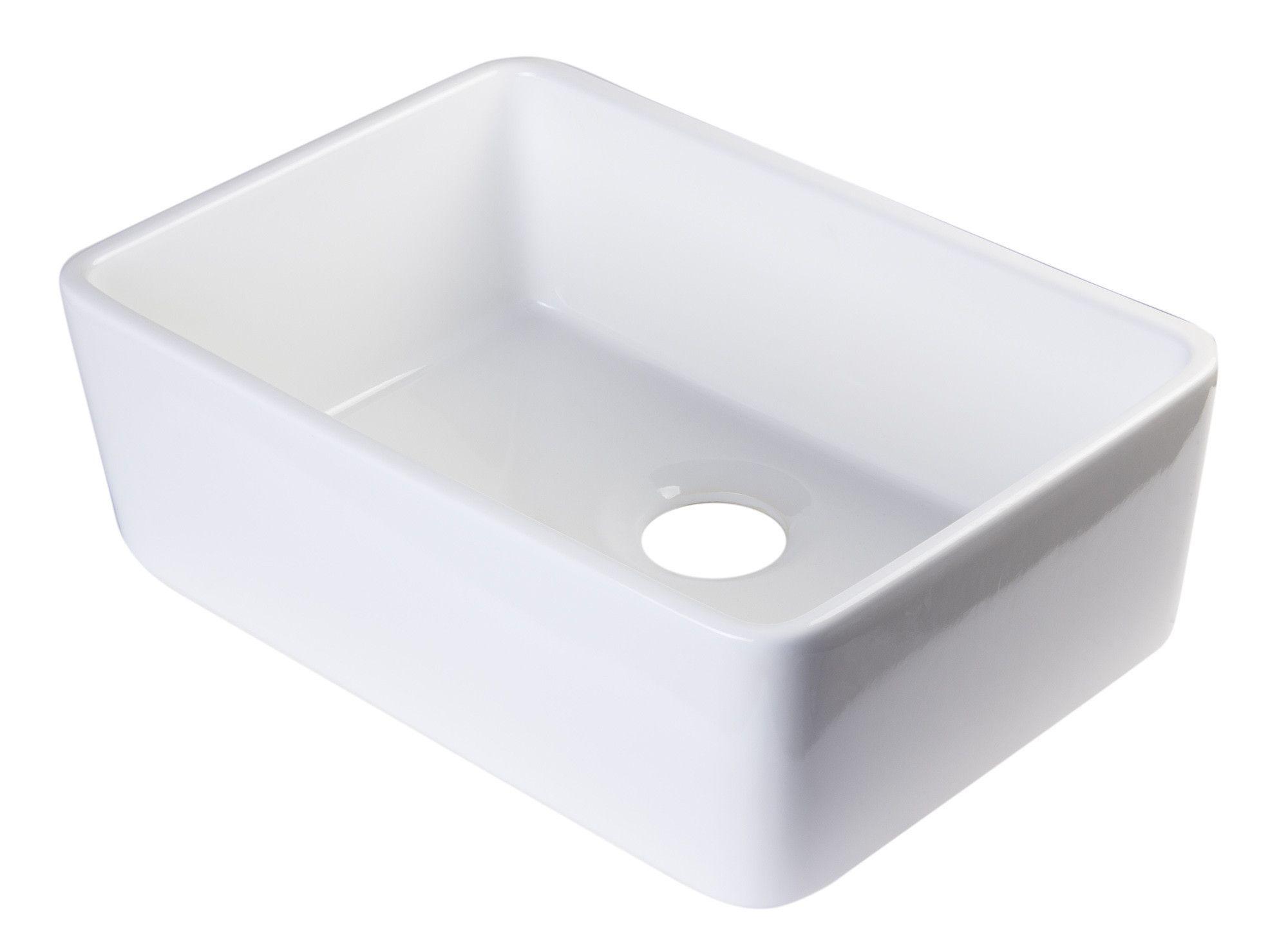 """ALFI White 23"""" Fireclay Single Bowl Farmhouse Kitchen Sink"""