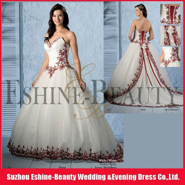 red and white wedding dresses 1.Exquisite workmanship 2.Good ...