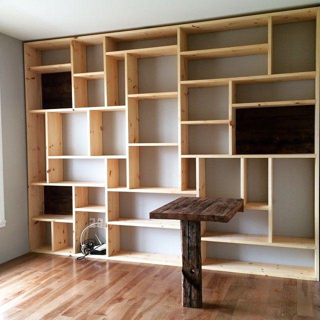 biblioth que sur mesure bois de grange pinterest bookshelf design bookshelves ikea and cd. Black Bedroom Furniture Sets. Home Design Ideas