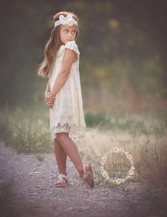 Flower Girl dress, Ivory lace dress,rustic flower girl dress ...