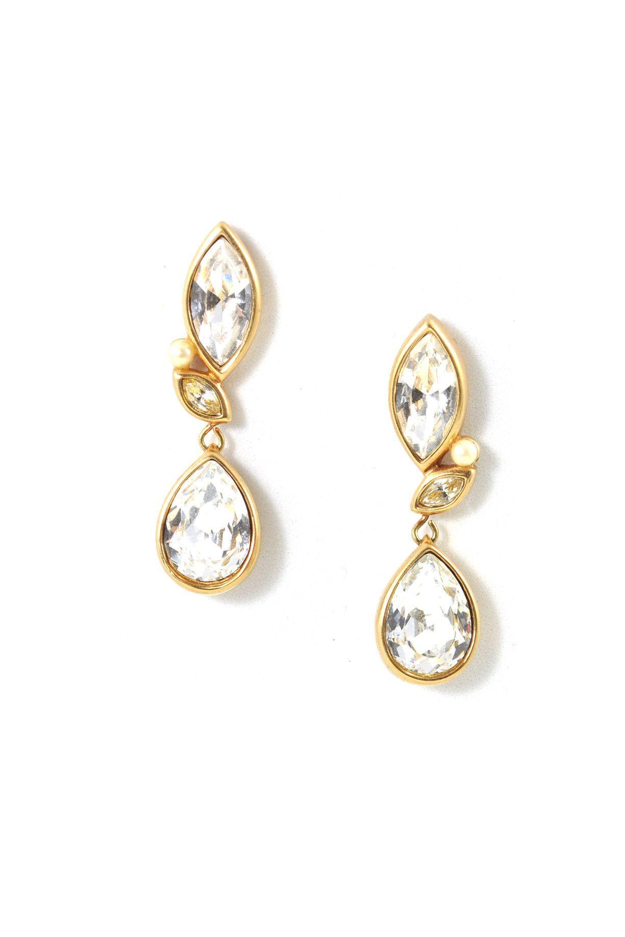 80s__Swarovski__Rhinestone Drop Pierced Earrings