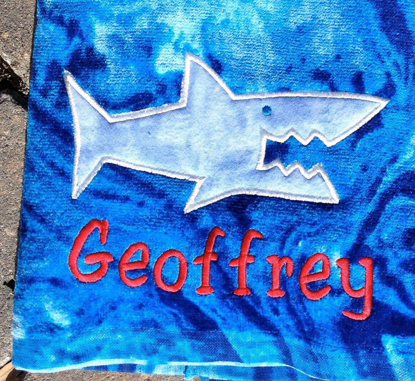 Appliqued Shark Beach Towel. $20.00, via Etsy.