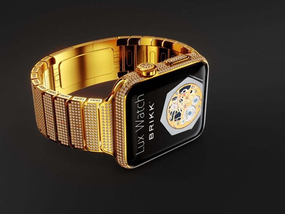 Brikk's Lux Watch Omni costs $  114,995 and it's an 18-karat gold Apple Watch with 11. 30 carat diamonds.The most expensive Apple Watch costs $114,995