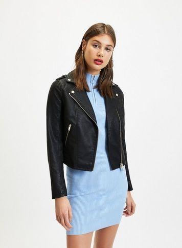 cab260ceefa85 Womens Black Debbie Biker Jacket in 2019 | Products | Jackets, Biker ...