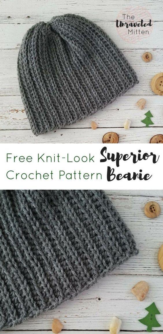 The Superior Beanie Free Knit Look Crochet Pattern | Brei ...