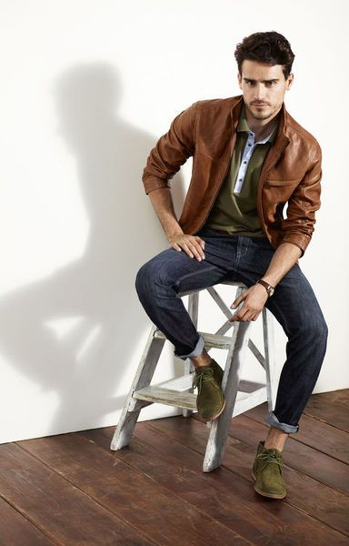 Awesome olive chukkas and olive shirt with a bold leather jacket!