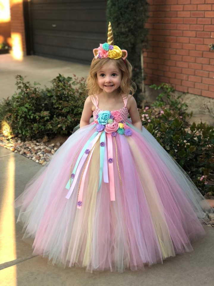Little Girl Unicorn Costume Tutu Dress Toddler Kid Girls Flower Applique Christmas Holiday Party Birthday Pageant Prom