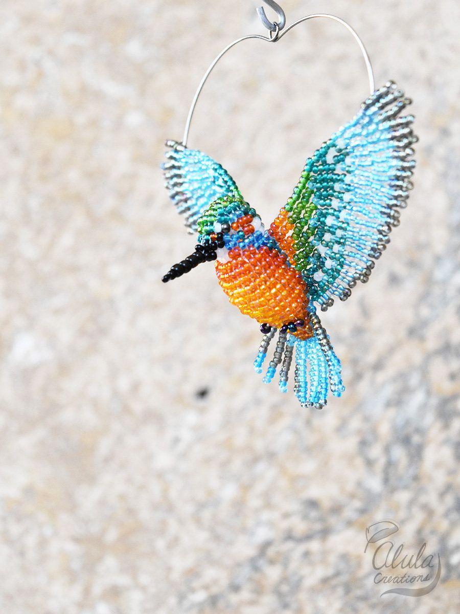 Kingfisher Suncatcher, Beaded Bird Art, Bird Brooch