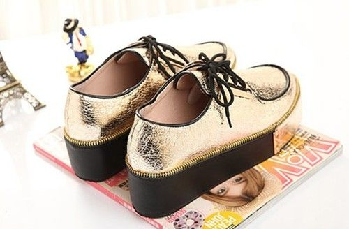 Yellow Silver Lace Up Punk Goth High Platform Flat Creeper Shoes 2 Colors | eBay