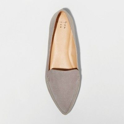 7a7c462258f Women s Micah Wide Width Pointed Toe Closed Loafers - A New Day Gray 5.5 W