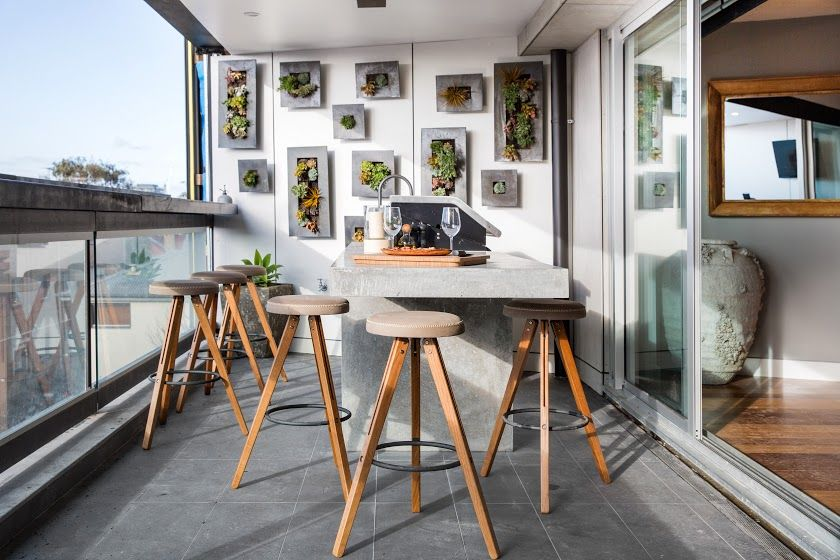 Stunning Apartment Terrace With Contemporary, Industrial Feel Featuring  Concrete Render Outdoor Kitchen, Custom Made Bar Stools And Vertical Garden.