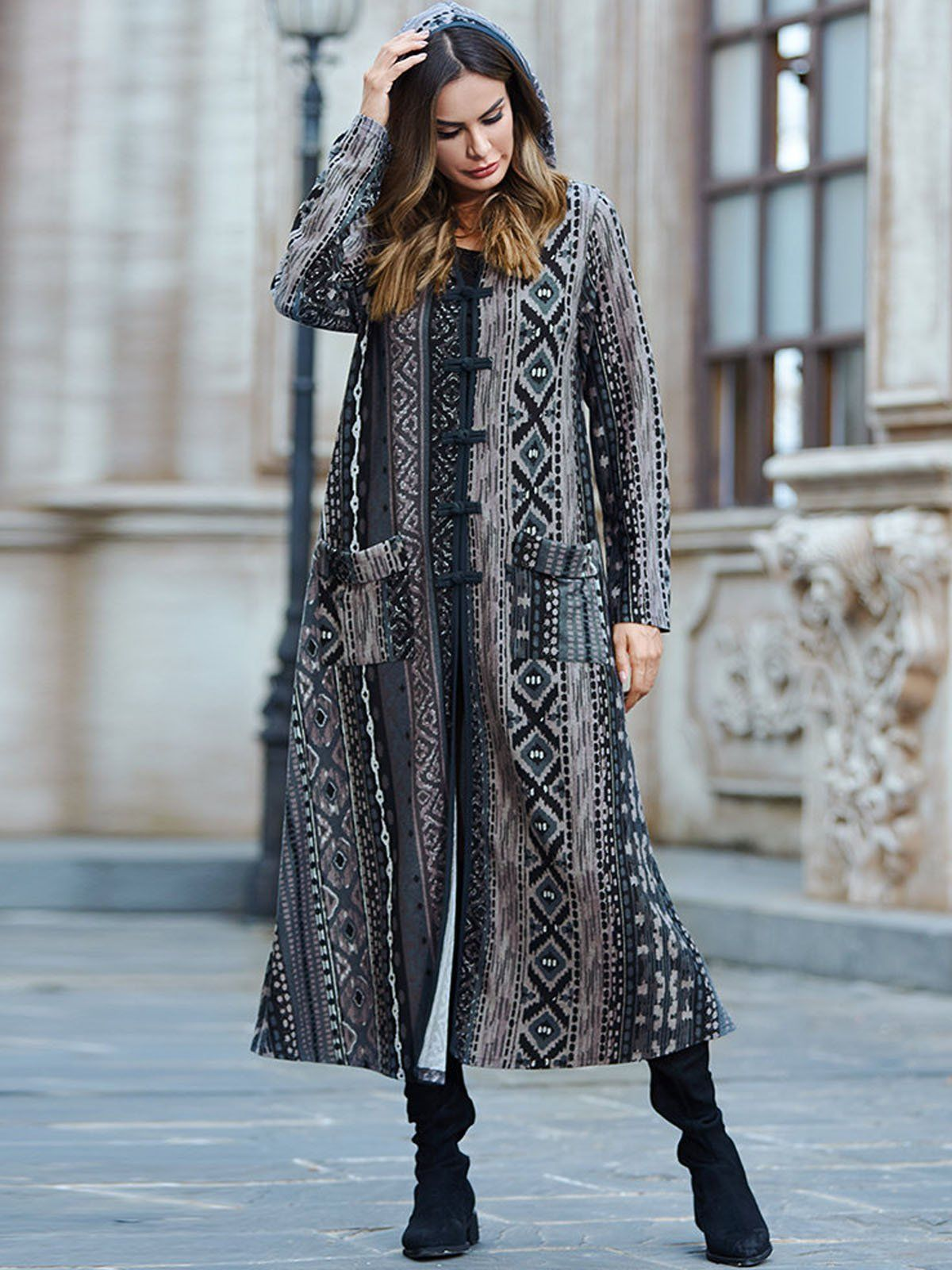 f31fa8dd2 Women Ethnic Print Loose Hoodie Long Coat in 2019 | Winter Outfits ...