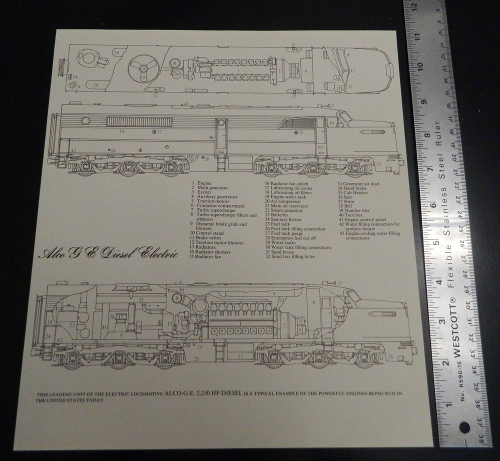 Tre Tryckare Alco Ge Diesel Electric Locomotive Cross Section Train Engine Diagram Print