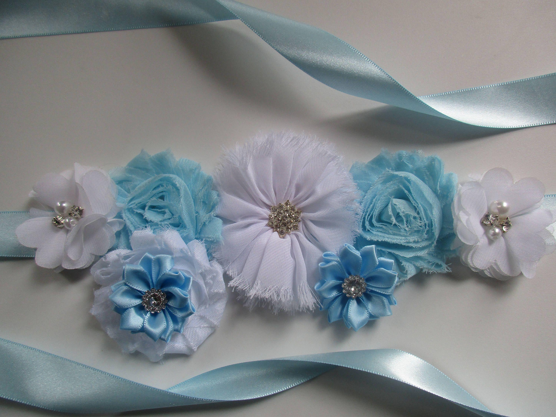 Baby Showers Boy Shades Of Blue  Maternity Sash Belt Flower Girl Sash