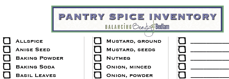 A Printable Spice List To Help You Keep Track Of What You Have So