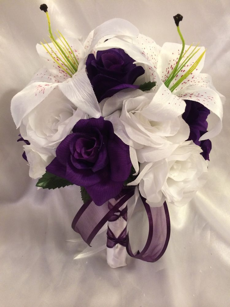 Round Wedding Bridal Bouquet Plum Egg Plant Tiger Lily Silk Customizing Packages | eBay