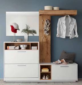 Garderoben Set Weiss Wildeiche Woody 63 00099 Holz Modern