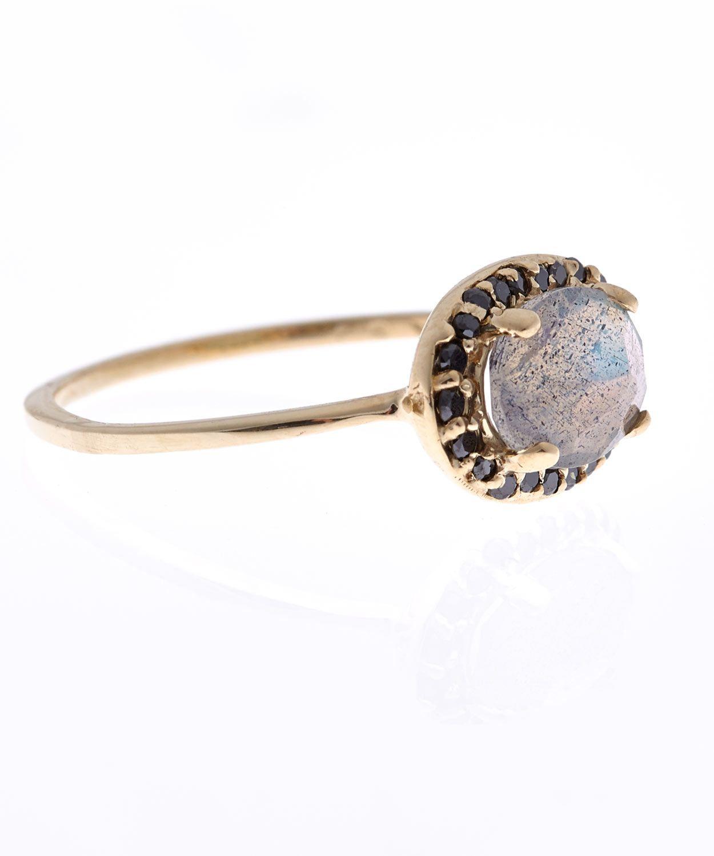 Labradorite and Black Diamond Chasse Amulet Ring, Anna Sheffield at Liberty