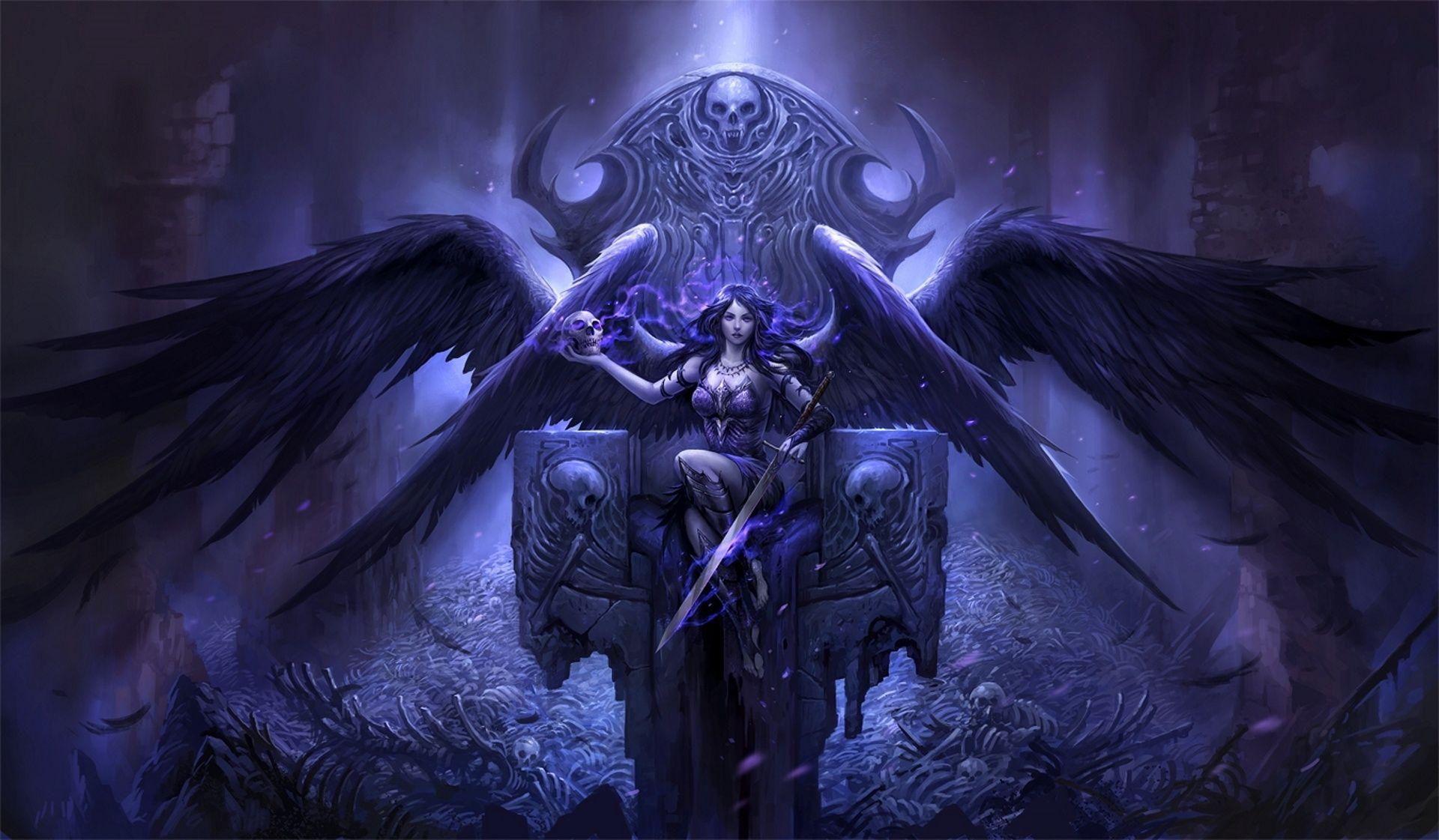 Gothic occult angel//devil in flight comic FANTASY ART 8x10