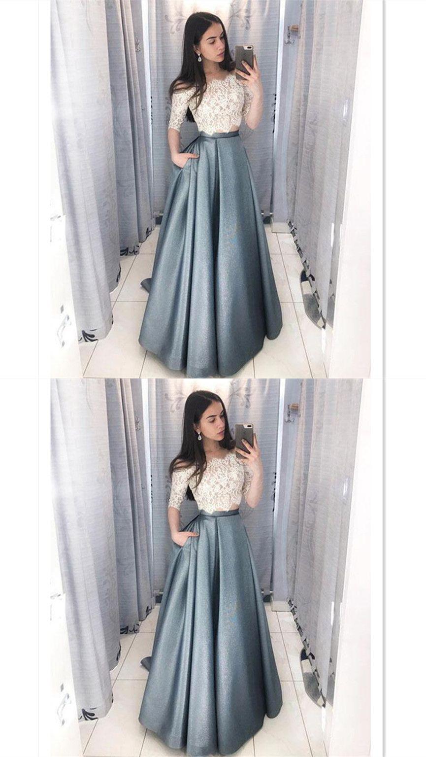 Unique two pieces long prom dresswhite lace evening dressfloor