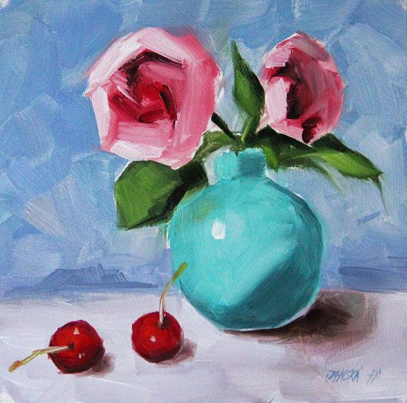 Roses Painting Original Flowers Oil Christmas Gifts Birthday ARTISTS DESCRIPTION On Panel Size Of