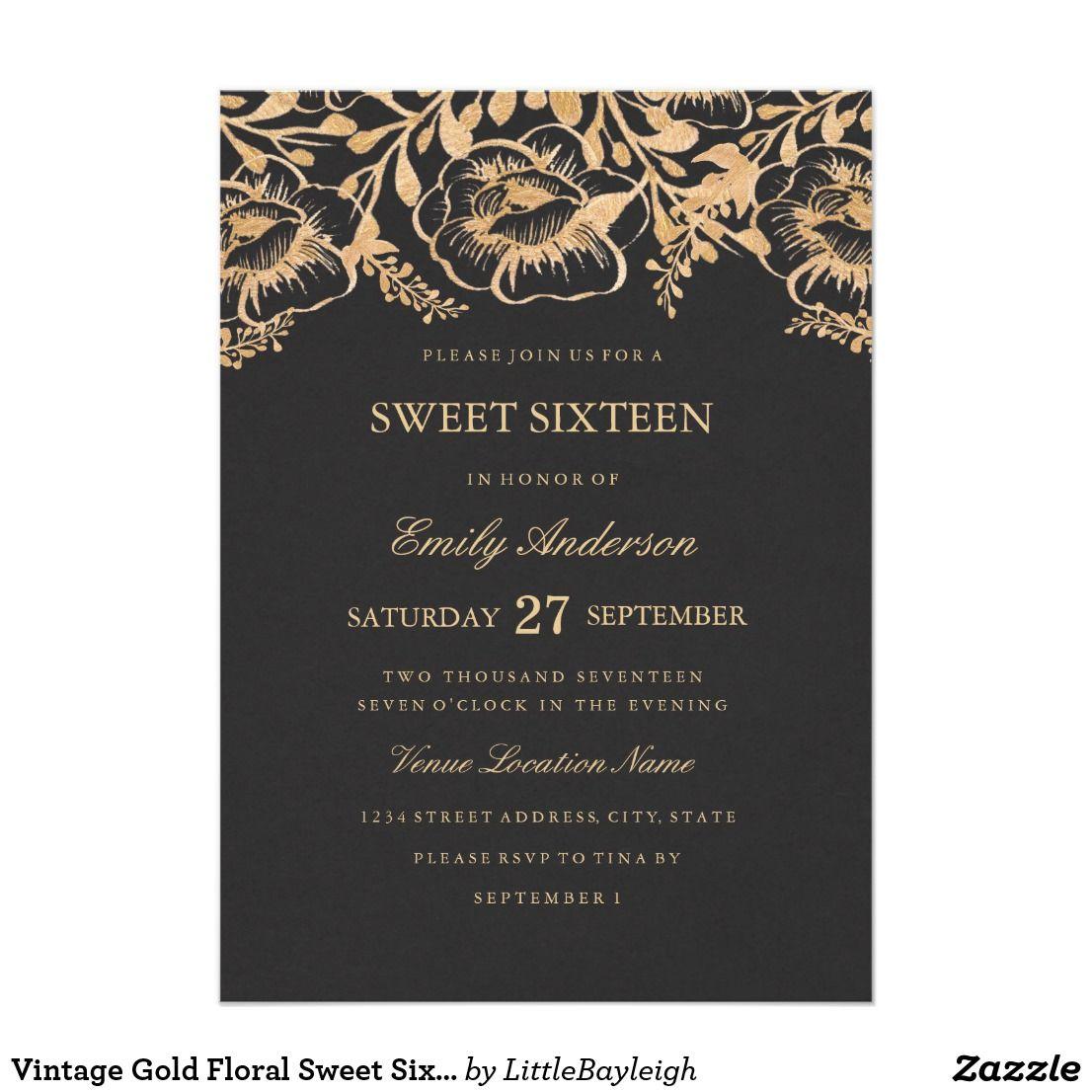 Vintage gold floral sweet sixteen invitation stopboris Choice Image