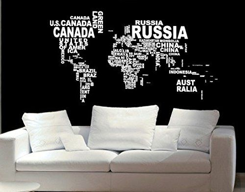 World Map in Country Names Vinyl Wall Decal for Living Room Decor ...
