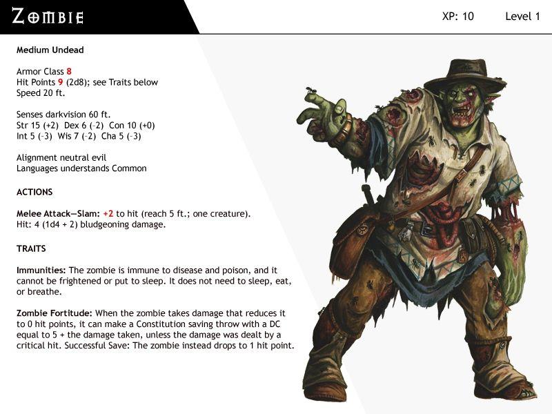 Dnd Next Monster Cards Zombie By Dizman Deviantart Com On Deviantart Monster Cards Dnd Monsters Dnd
