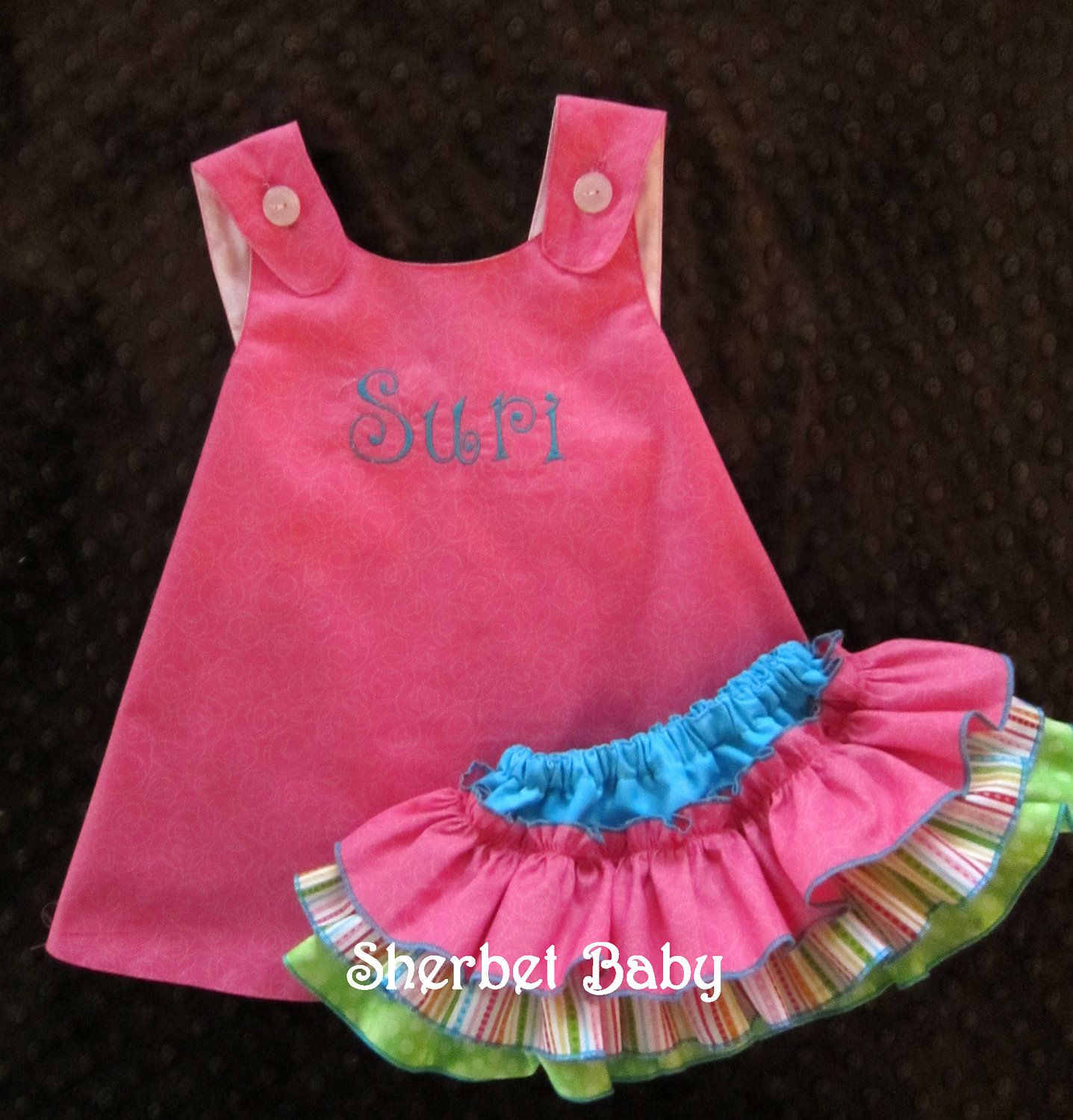 Pinafore Dress and Sassy Pants Ruffled Diaper Cover by SherbetBaby, $56.00