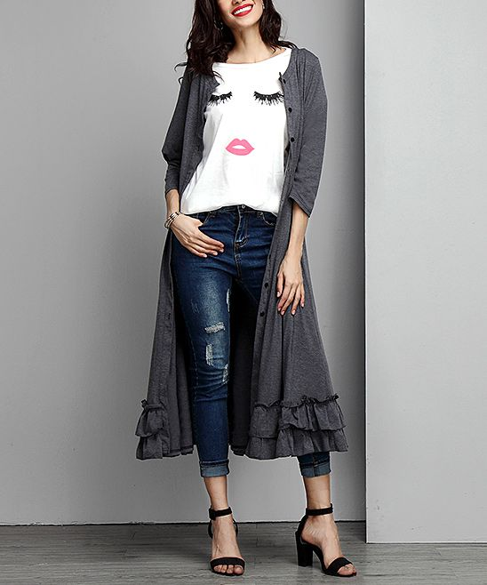 Charcoal Button-Down Ruffle-Hem Maxi Cardigan | Products ...