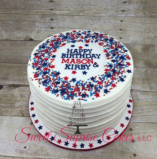 Patriotic Red White And Blue Birthday Cake Sweet Suprise Cakes Llc