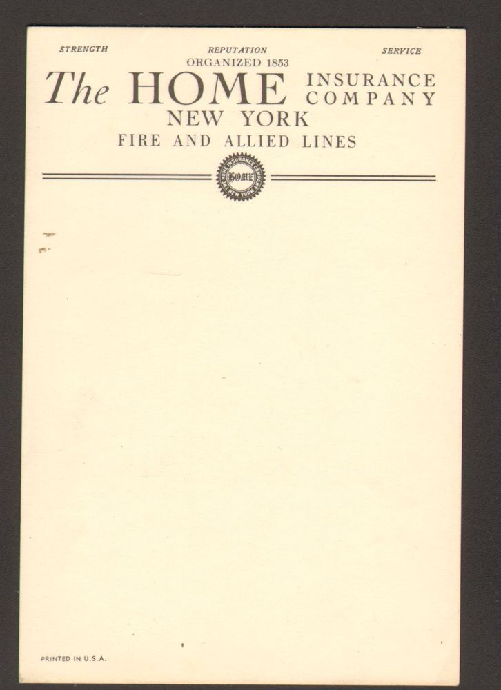 Undated Advertising Memo Pad The Home Insurance Company New York